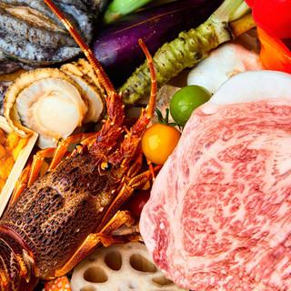 毎朝豊洲市場から仕入れる四季を彩る厳選の新鮮魚介、和牛