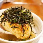 やきとり大吉 - シメには、おこげスープを頂きました。 焼きおにぎり+あっさり鶏スープの組み合わせです。