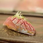 鮨 かの - 愛媛産 鯵 塩〆