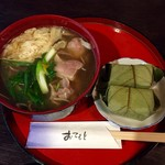 長谷路 - 料理写真:鴨そば・柿の葉寿司