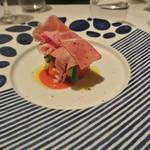 リストランテ カノフィーロ - 水牛のモッツアレラとフルーツトマト、生ハム