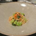 リストランテ カノフィーロ - 静岡産桜海老と空豆のアーリオオーリオ リングイネ