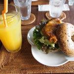 空猫カフェ - ベーグルサンドセット(ベーグルが週か日替わり)