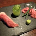 85770288 - お通しの肉寿司