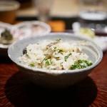日本料理 晴山 - 花山椒とスッポンの炊き込みご飯