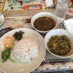 スリランカ料理 ラサハラ - スリランカセット  900円 ポークと野菜(オクラ)をチョイス。