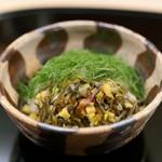 千花 - 御飯(柴漬と大葉の飯蒸し)