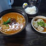 担々麺 酒処 鉄人 - 料理写真:「A定食(担々麺・水餃子5個・ごはん)」900円