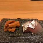 割烹 うづき - 生雲丹 シマアジ
