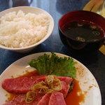 みつまた - 上カルビ定食 ご飯味・スープ付(2切れ食べちゃった)