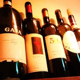 80種類以上のイタリアワインやイタリア産ビール、カクテル各種
