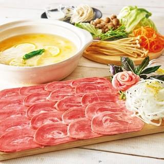 瀬戸内レモン塩火鍋のたんしゃぶ食べ放題コース
