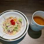 85833530 - サラダとトマトスープ。スープ、お気に入り。