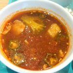 トマトマン - 特製トマトヌードルのつけ汁のアップ