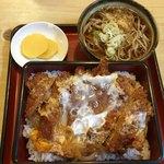 あかし庵 - かつ丼 上  ミニお蕎麦、おしんこ付  ¥950