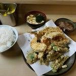 いもや - 天ぷら定食+穴子+いんげん全景