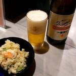 寄鳥味鳥 - ドリンク写真:ポテサラ&瓶ビール