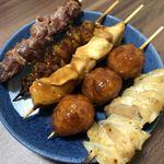 慶 - 2018.4.19  砂肝、とり皮、とり肉、つくね、なん骨