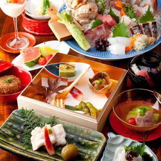 旬食材と職人の技で魅了する、おもてなしの会席コース