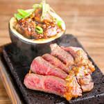 NEW!■黒毛和牛ロースの石焼き 茸醤油ソース ~焼き丸茄子添え~