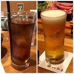 西新初喜 - ◆ランチにはドリンクが付きますが、それ以外で「ランチビール(300円:外税)」を。 ドリンクは二人とも「ウーロン茶」をチョイス。