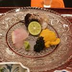 日本料理 晴山 - のど黒、さとうのうに、ちょっと焼いたトリガイ