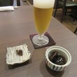 かね田 宝庵 - グラスビール・そば味噌・お通し