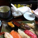 壽司処新岡 - 食べかけです。