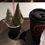 ViTo - ピスタチオとaso(ミルククリーム)&アメリカーノ(コーヒー)・・店内が暗くて色合いが悪いですが^^;