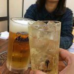 いわし舟 - H.30.3.28.夜 角ハイボール 400円 vs 生ビール中 480円 de 乾杯♪