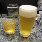 回転寿司酒場 銀座沼津港 - とろあま完熟梅酒  800円+Tax & 生ビール 550円+Tax