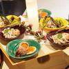くろぎ - 料理写真:八寸:ふきのとう、イカげそ、いくら、飛び魚、琵琶湖氷魚、空豆
