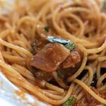 ヴェスタ - 【プリモピアット】、茄子(なす)の蕃茄(とまと)味(あぢ)意大利麪(パスタ)、スパゲティーニ、パンチェッタ