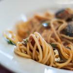 ヴェスタ - 【プリモピアット】、茄子(なす)の蕃茄(とまと)味(あぢ)意大利麪(パスタ)、麪條(スパゲティーニ)