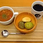 ぽんでCOFFEE - モーニングメニューのスープセットとメキシコ エルトリウンフォ カフェインレス