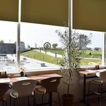 カフェ リリー - お店の中央のカウンター席 公園の景色、イルミネーションの特等席
