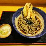 蕎麦人 - 冷し天婦羅そば(1100円)田舎十割太麺