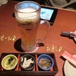 千年の宴 - やっぱり先ずは生ビール(中/530円)で久々のしまなみに乾杯〜( ^ ^ )/□ ケガもなく殆ど雨にも降られず楽しいポタだった!お通し(411円)は3種類♪
