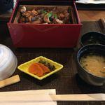 山香温泉風の郷 - 豊の軍鶏せいろご飯 お味噌汁、漬物 ¥1512