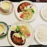 芽瑠辺 - ジャンボチーズハンバーグセット1,200円。