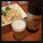 四川麻辣火鍋 天府 - ビールと干し豆腐