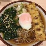 そばの神田東一屋 - ほうれん草+温玉のせ 朝蕎麦(*´ω`*)+ちくわ天
