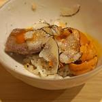 はらまさ - トリュフご飯 牛肉と地鶏の黄身と雲丹と共に
