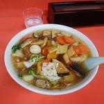 大龍 - 料理写真:大龍麺。丁寧にほうちょーが入り、下処理した野菜どもと、暴力的な揚げブダニグの醤油あんかけがもうね、、、