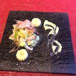 青龍 - 料理写真:初夏野菜のおひたしと天婦羅、帆立貝と甘海老