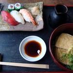 そば 寿し 花しん - 握り寿司+きつね(冷)
