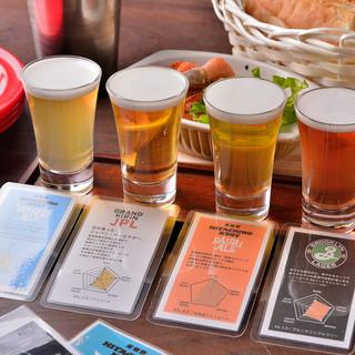 クラフトビールの人気銘柄4種類を飲み比べできます♪
