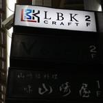 LBK CRAFT - 東向商店街の通路側にせり出した看板。