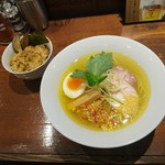 麺酒一照庵 - 鶏中華そば 塩+鶏めし(950円)2018年5月