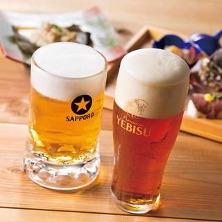 生ビールは琥珀ヱビスとサッポロ黒ラベル!厳選した日本酒も◎